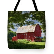 Red Barn With White Arched Door Trim Tote Bag