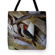 Red-bellied Woodpecker Hides On A Cabbage Palm Tote Bag
