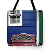 Red Bench Blue House Tote Bag