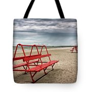 Red Bench On A Beach Tote Bag