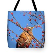 Red Berry Robin Tote Bag