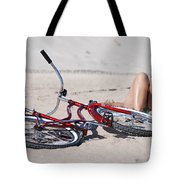 Red Bike On The Beach Tote Bag