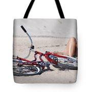 Red Bike On The Beach Tote Bag