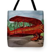 Red Biplane Tote Bag by Megan Cohen
