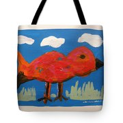 Red Bird In Grass Tote Bag