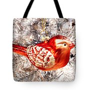 Red Bird White Tree Tote Bag