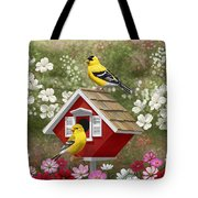 Red Birdhouse And Goldfinches Tote Bag by Crista Forest