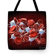 Red Blood Cells With Leukocytes Tote Bag by Stocktrek Images