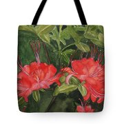 Red Blooms On The Parkway Tote Bag