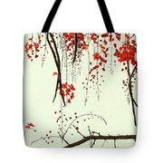 Red Blossom Tree On Handmade Paper Tote Bag