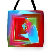 Red Blue Cubed Tote Bag