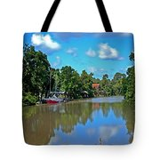 Red Boat And The Magnolia River Tote Bag