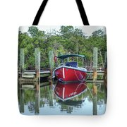 Red Boat Docked Florida Tote Bag