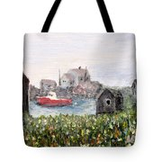 Red Boat In Peggys Cove Nova Scotia  Tote Bag