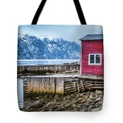 Red Boathouse In Norris Point, Newfoundland Tote Bag