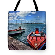 Red Boats At Blue Pier Tote Bag