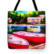 Red Boats At The Lake Tote Bag