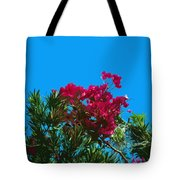 Red Bougainvillea Glabra Vine In Juniperus Virginiana Tree In Co Tote Bag