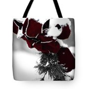 Red Bow In Snow Tote Bag