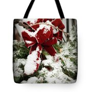 Red Bow On Pine Bough Tote Bag