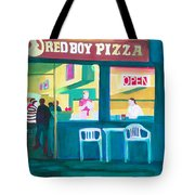 Red Boy Pizza Tote Bag