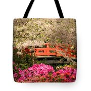 Red Bridge And Blossoms Tote Bag