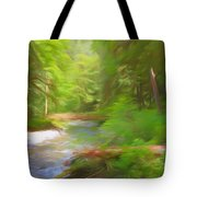 Red Bridge In Green Forest Tote Bag
