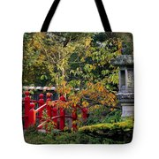 Red Bridge & Japanese Lantern, Autumn Tote Bag by The Irish Image Collection