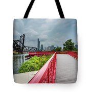Red Bridge To Chicago Tote Bag
