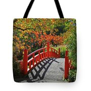 Red Bridge With Shadows Tote Bag