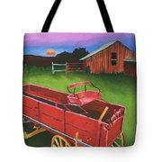 Red Buckboard Wagon Tote Bag
