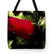 Red Bud On Green Background Tote Bag