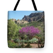 Red Bud Tree On Path Tote Bag