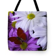 Red Butterfly On Assorted Mums Tote Bag