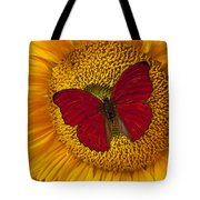 Red Butterfly On Sunflower Tote Bag by Garry Gay