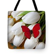 Red Butterfly On White Tulips Tote Bag by Garry Gay