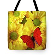 Red Butterfly On Yellow Mums Tote Bag