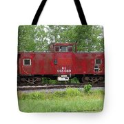Red Caboose In The Rain Tote Bag