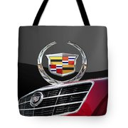 Red Cadillac C T S - Front Grill Ornament And 3d Badge On Black Tote Bag by Serge Averbukh