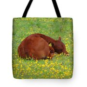 Red Calf In The Buttercup Meadow Tote Bag