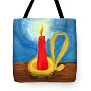 Red Candle Lighting Up The Dark Blue Night. Tote Bag
