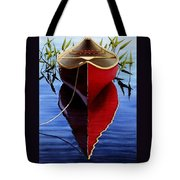 Red Canoe In Pickerel Weeds Tote Bag
