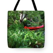 Red Canoe In The Adk Tote Bag