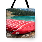 Red Canoes Of Emerald Lake Tote Bag