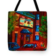 Red Car Blue Sky Tote Bag