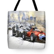 1957 Red Car Ferrari 801 German Gp 1957  Tote Bag