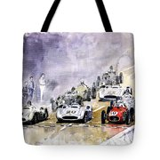 1954 Red Car Maserati 250 France Gp Tote Bag by Yuriy Shevchuk