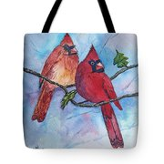 Red Cardinals Tote Bag