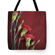 Red Carnation Stems Tote Bag
