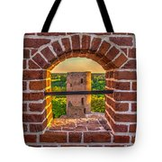 Red Castle Window View Tote Bag by